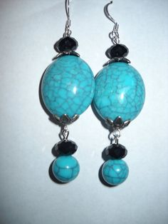 Acrylic Turquoise and Black Crystal Dangle Earrings by danielleh08, $5.00