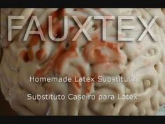 Fautex (alternative to Latex FX makeup)  Soft Skin: 1 c cold water, 1/4 c tapioca flour, 1 packet plain gelatin, 1 T coconut oil. for Moldable Brains use1 1/2 packets plain gelatin for Ears use 2 packets plain gelatin Put cold H2O in pan, mix in flour, gelatin& oil. Stir til flour is dissolved (ad liquid foundation makeup if desired). Heat low, stir continuously til pudding consistency. Cook 1 more min.  Cool