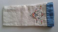 TEA TOWEL Dish Cloth VINTAGE LINEN Embroidered Floral FOLK ART Textile Kitchen