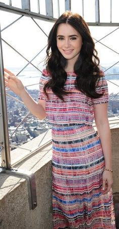 Lily Collins!! Love her! And that dress! Harvey Girls has some similar, long and colorful! Looks like I have to make a shopping trip to Harvey Girls Gallery :)