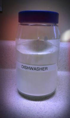 Dishwasher Detergent: 1c Borax 1c Baking Soda **changed to washing soda and have better results 1/2c Coarse Salt 1/2c citric acid  Mix all. Use 1tbs per load. Recommended to add vinegar to rinse aid dispenser to alleviate cloudiness.