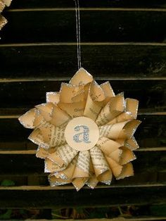 """Craft: tiny paper star ornaments Personalized with a single letter in the center: These will be teacher gifts for Christmas this year. A miniature version of this larger paper star wreath: (This star measures 15″ point to point.) The ornaments are a fraction of the size, measuring 5″ point to point: """"Helping you make DIY... Read more"""
