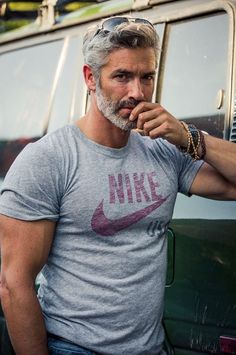 Hot Men w/ Grey & Silver Hair : 42 Hairstyles for Men with Silver and Grey Hair Grey Hair Men, Silver Grey Hair, Gray Hair, Grey Hair Male Model, Silver Foxes Men, Mode Man, Mature Men, Hair And Beard Styles, Beard Styles For Men Over 50