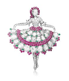 The beginnings of Van Cleef & Arpels' iconic ballerina clips sprang from an artistic collaboration between Maurice Duvalet, a French-born designer who moved to America at the end of World War I; John Rubel, the House's manufacturer who had just emigrated from Paris; and Van Cleef & Arpels whose original inspiration was deeply rooted by Louis Arpels' passion for classical ballet and opera