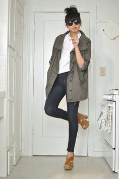 parka from a korean boutique apc shirt gap jeans miu miu heels