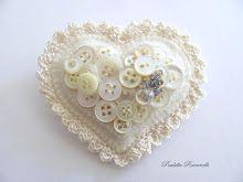 button heart pin with crochet edge
