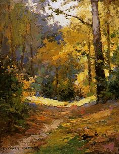 Sous Bois effect by Soliel (around 1920 – Édouard Léon Cortès - Art Painting Art Watercolor, Watercolor Landscape, Landscape Art, Landscape Paintings, Landscapes, Nature Paintings, Beautiful Paintings, Horse Paintings, Oil Paintings