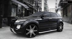 Lexani Wheels, the leader in custom luxury wheels.  2013 Range Rover Evoque with brushed/black Johnson II rims.