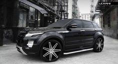Lexani Wheels, the leader in custom luxury wheels.  2013 Range Rover Evoque with brushed/black Johnson II rims.