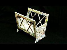 How to make a newspaper basket /magazine holder - YouTube