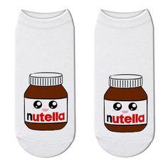 "New Fashion Funny Print White ""nutella"" Socks Cute Food Character U – Cotton Socks, Ankle Socks, Cute Food, New Fashion, 3d Printing, Kawaii, Cartoon, Unisex, Impression 3d"