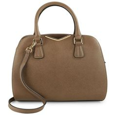 Calvin Klein Saffiano Leather Satchel ($238) ❤ liked on Polyvore featuring bags, handbags, dark taupe, saffiano leather satchel, satchel style handbag, saffiano leather purse, satchel bag and pocket purse