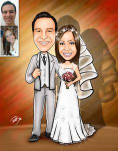 Caricaturas digitais, desenhos animados, ilustração, caricatura realista: Caricatura de noivos !!