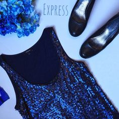 Express Navy Sequin Tank  ★ NWOT, in perfect condition.  ★ Lovely navy colored sequins.  ★ Body: 60% Cotton || 40% Modal. ★ Outer shell: 100% Polyester. ★ NO TRADES!  ★ YES OFFERS! ✅ ★ Measurements available by request.  ★ Selected as a Host Pick for the Girly Girl party on 4/27/16! Thank you so much @bella_xox!  Express Tops Tank Tops