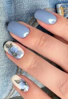 Cute and beautiful nails art design ideas you must try today 33 - Toe nail art Best Acrylic Nails, Toe Nail Art, Nail Nail, Flower Nails, Nail Art Flowers, Stylish Nails, Beautiful Nail Art, Blue Nails, Nail Art Blue