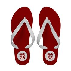 Simple Minimalist Double Happiness Chinese Wedding Flip Flops #flipflops #sandals #red #chinese #wedding #happiness #pattern #simple