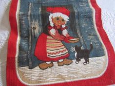 NEW-Vtg-SWEDEN-Stildukar-JUTE-Printed-Table-Runner-GIRL-w-CAT-Orig-Label-12x38-034