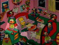 Bart surrounded by Krusty the Klown paraphenalia