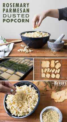 Parmesan and rosemary combine to create an unexpected, yet savory popcorn snack perfect for serving during any viewing party. Start by cutting your cheese into thin, even slices. Then, toss them in the oven along with a bit of rosemary, and bake until everything's nice and crispy. In the meantime, drizzle a little olive oil over your popcorn. Allow your parmesan and rosemary to cool off from the oven, then crush them all up and sprinkle over your popcorn along with salt and pepper.