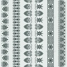 Buy Setof Greek Ornament Meander Borders by Kavalenkava on GraphicRiver. Set Traditional vintage Greek ornament Meander and floral pattern borders More backgrounds, ornaments, seamless patte. Hand Embroidery Design Patterns, Geometric Embroidery, Border Pattern, Pattern Art, Zentangle, Paisley Background, Boarder Designs, Greek Pattern, Lace Painting