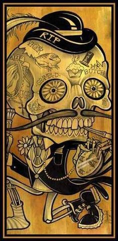 drawing. skeleton man. running. crouching.. mustache. hat. day of the dead. | RP » Skull