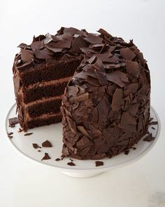 Chocolate Overload Cake: Moist double Dutch chocolate cake is layered with rich milk-chocolate mousse and covered in dark-chocolate ganache and dark-chocolate bark. Gourmet Cakes, Gourmet Desserts, Just Desserts, Gourmet Recipes, Sweet Recipes, Cake Recipes, Dessert Recipes, Chocolate Bark, How To Make Chocolate