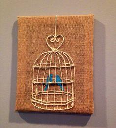 Mixed Media Blue Love Birds Rustic Jute Bird Cage Burlap Canvas Art Painting 11x14 Chic Wedding Gift
