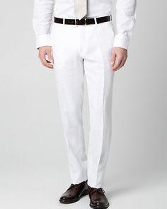 Le Château | Pantalon à jambe droite en lin - Confectionné dans un lin impeccable, ce pantalon à jambe droite est parfait pour vos tenues de la belle saison.