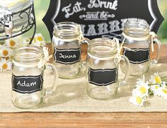 These chalkboard glass clings are a great way to add a personal touch to your wedding reception. You can put them on glasses or to designate place settings.  They useful and fun! More ideas like this: http://www.favorwarehouse.com/search/?q=kate+aspen