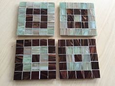 Mosaic Coasters Set of 4 Handmade Copper Ivory Light by gcbmosaics