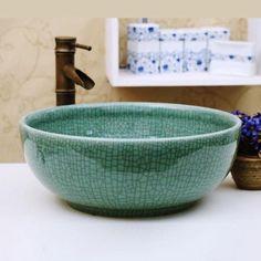 Pure crackled glaze handmade porcelain basin - Painted Ceramic Sinks - Sinks - Bath
