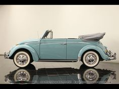 VW Sky blue convertible Beetle