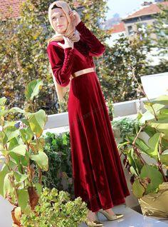 Kadife Elbise 1310 - Kırmızı - İz Otantik