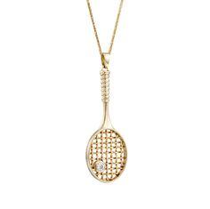 $520 Large Diamond 14k Gold Tennis Racket Pendant, Tennis Necklace, Tennis Pendant, Tennis Racket Charm, Sport Necklace, Tennis Racquet ME7007