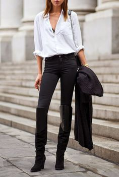 """i am all about a """"put together black jeans, white button down and a great boot"""" look! it's a """"go to"""" fave of mine, which never, ever disappoints. this look is dressed up and down at the same time, especially paired with a blazer, an open toe also works."""