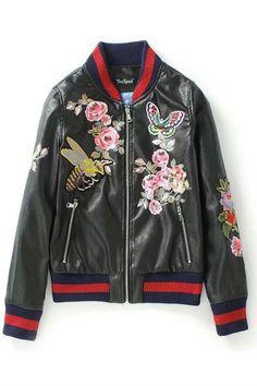 Black Butterfly Floral Embroidery Leather Bomber Jacket     NEEEEEEEE3EE3E3EEEEEEEDDDD