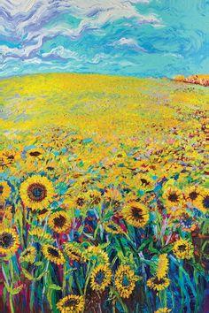 Sonnenblume Triptychon Panel I Leinwand Kunst von Iris Scott Graffiti Kunst, Art Sur Toile, Van Gogh Art, Sunflower Art, Art Abstrait, Fine Art, Art Auction, Artist Painting, Medium Art