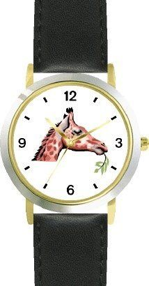 Giraffe Head African Animal - WATCHBUDDY® DELUXE TWO-TONE THEME WATCH - Arabic Numbers - Black Leather Strap-Children's Size-Small ( Boy's Size & Girl's Size ) WatchBuddy. $49.95