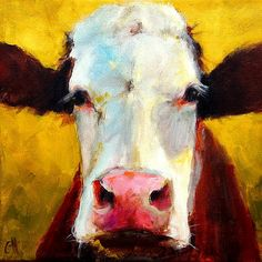 Ivy- cow painting- print of an original painting by Cari Humphry - 7x7.