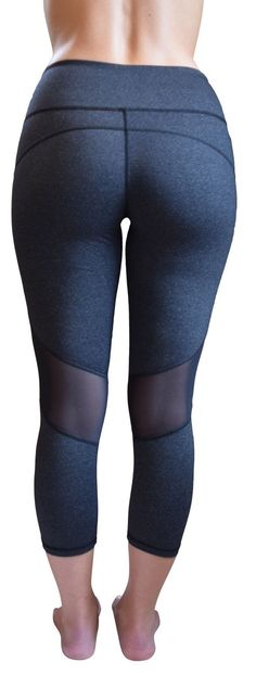 Jessica Mesh Capri Yoga Pants (Gray)