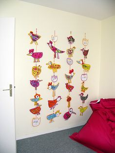 Sharpie Birds (u could even do rainbow colored geometric shapes, or other designs) glue onto poster board, modpodge, string with beads, yarn, fishing line, straws. GREAT  Cheap Wall decor for First apartment, College students, Art Room...love it!