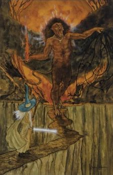 """Michael Hague. """"The Lord of the Rings."""" Watercolor for J.R.R. Tolkien's """"The Fellowship of the Ring."""" 280 x 175 mm; 11 x 7 inches. Signed in full in ink lower right. Estimate $1,000-1,500. Gandalf battles the Balrog in the Mines of Moria."""