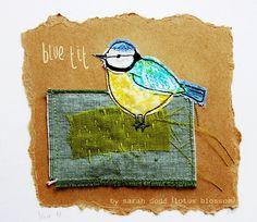 blue tit... textile art by Sarah Dodd (lotus blossom)