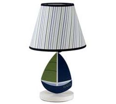 Blue and green striped sail boat lamp base and shade.