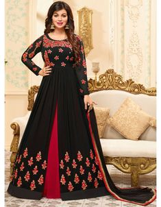 Ayesha Takia Black and Scarlet Red Anarkali Suit