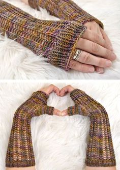 Free Knitting Pattern for Easy Black Locust Fingerless Mitts - Easy lace mitts designed by Jessica Yesin. Rated very easy by Ravelrers. Great with multi-color yarn!