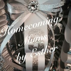 Diamond dust, white and silver homecoming mum https://www.facebook.com/Homecoming-Mums-by-Esther-273602849493591