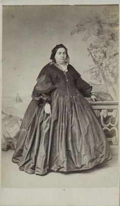CDV: Portly woman in a hooped dress by Symons of Old Bond St, London. Dated 1862