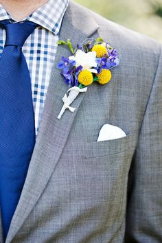 For the guys- grey suits + blue tie + blue check shirt. or do purple or pink or all 3 colors in one! :)