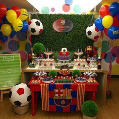 ideas para un cumpleaños del barcelona Sports Themed Birthday Party, Soccer Birthday Parties, Football Birthday, Sports Party, Boy Birthday, Barcelona Party, Party Fiesta, Party Planning, Party Time